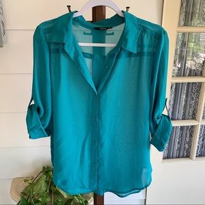 a.n.a - Sheer Teal Button Down w/ Roll-up Sleeves